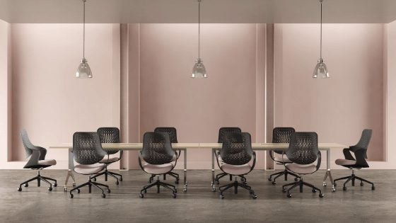 ergonomic task chairs with boardroom table