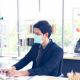 office workers masks social distancing